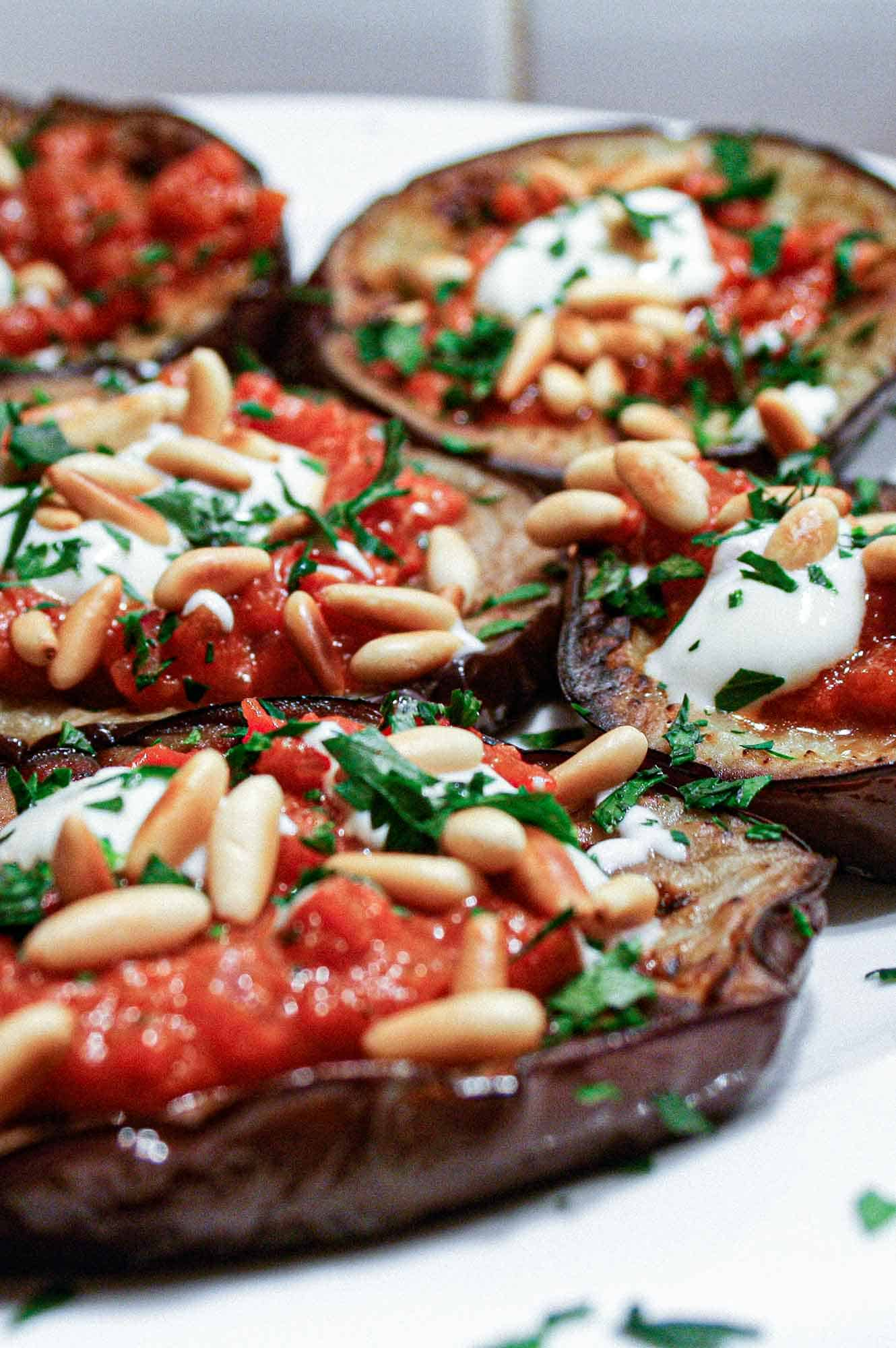 Eggplant With Tomato Sauce & Pine nuts