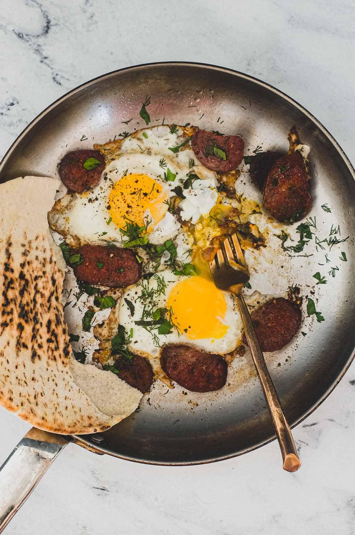 Turkish Suçuk with Eggs