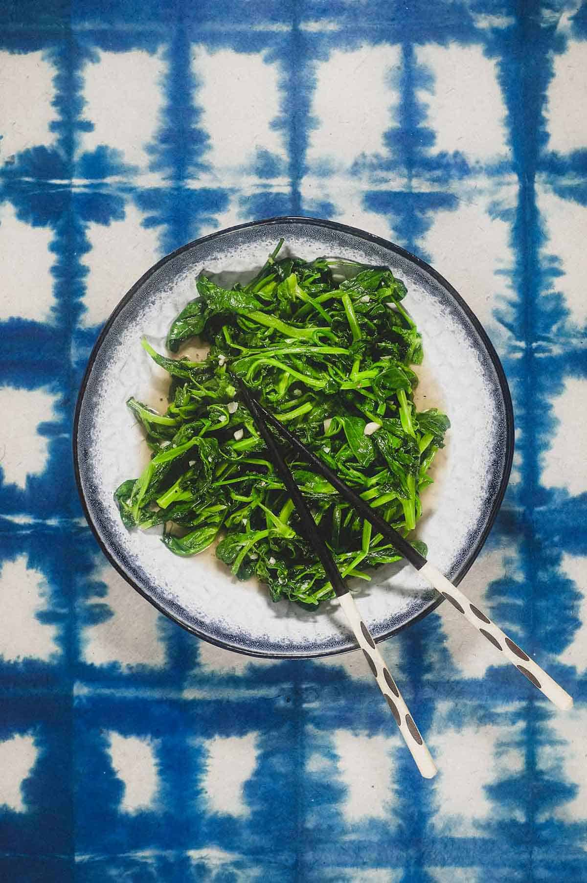 Chinese Snow Pea Shoots with Garlic