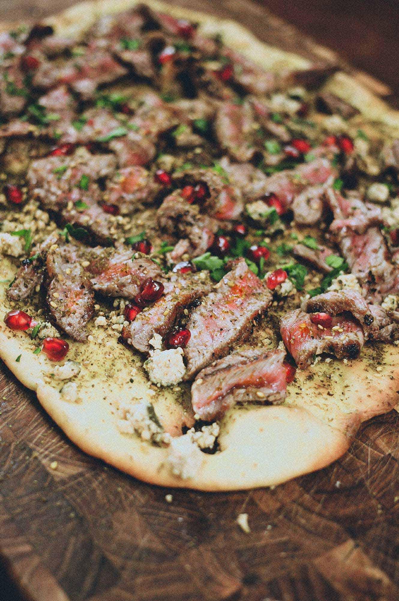 Za'atar Bread with Beef & Shangleesh