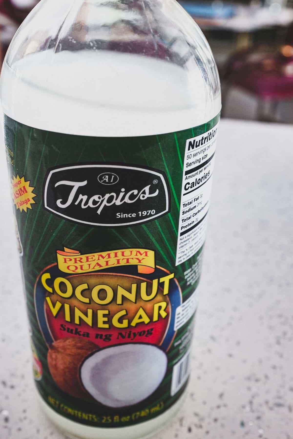 A bottle of coconut vinegar