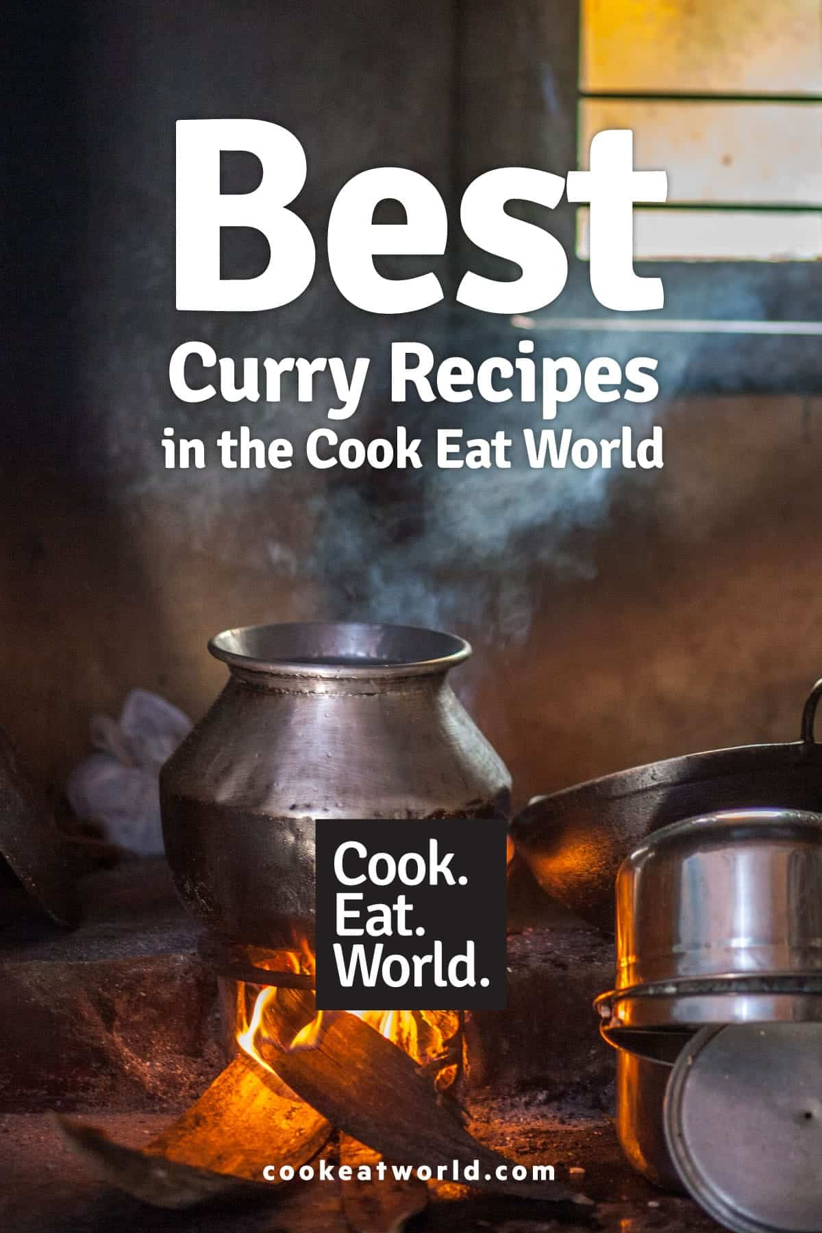 A large silver pot of curry sits over an open flame in Rajasthan India - leading to post about the best curry recipes from cookeatworld.com