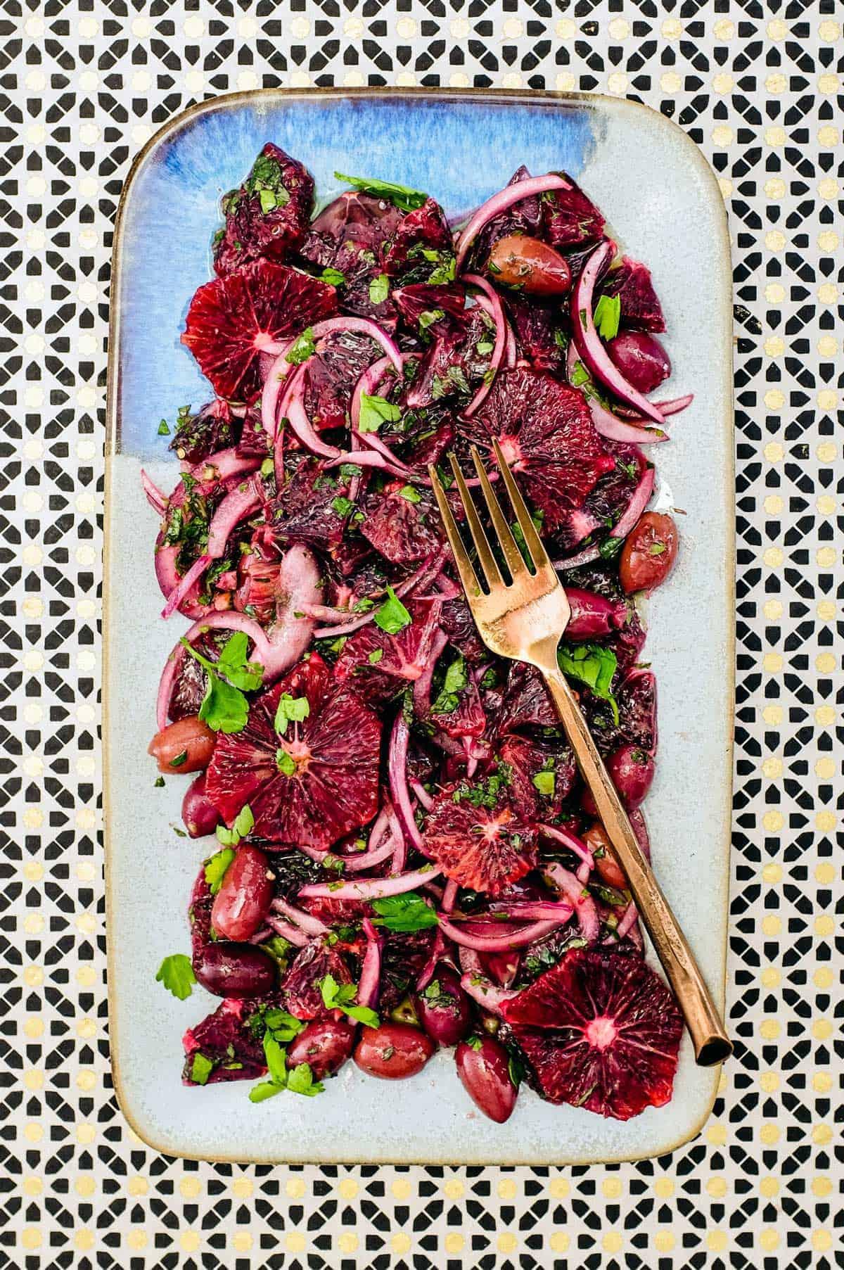 Moroccan Blood Orange & Black Olive Salad