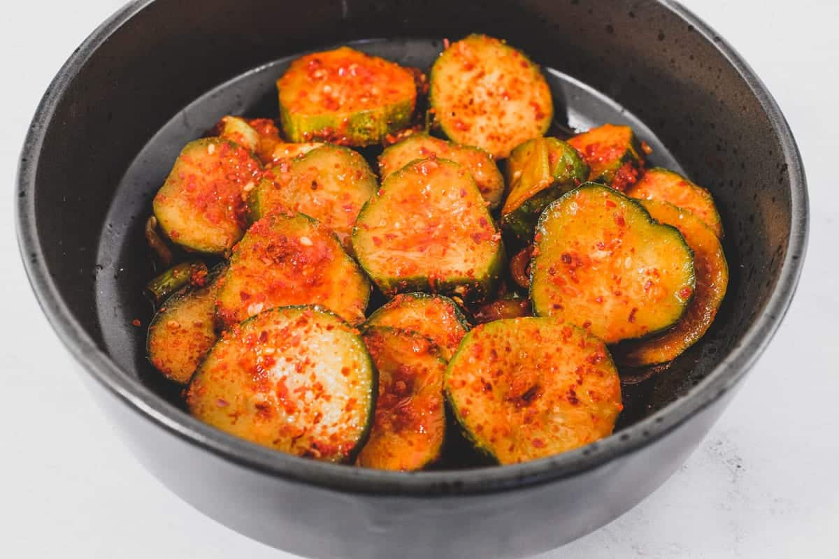 Cucumbers with gocugaru chilli and vinegar makes Oi Muchim (Korean Cucumber Salad)