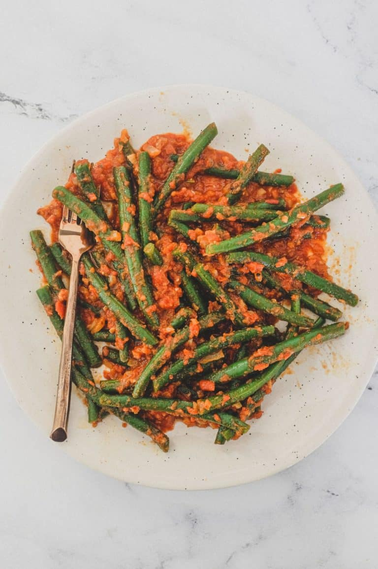 Green Beans (French Beans) cooked in a tangy red tomato sauce with Turkish Aleppo Pepper