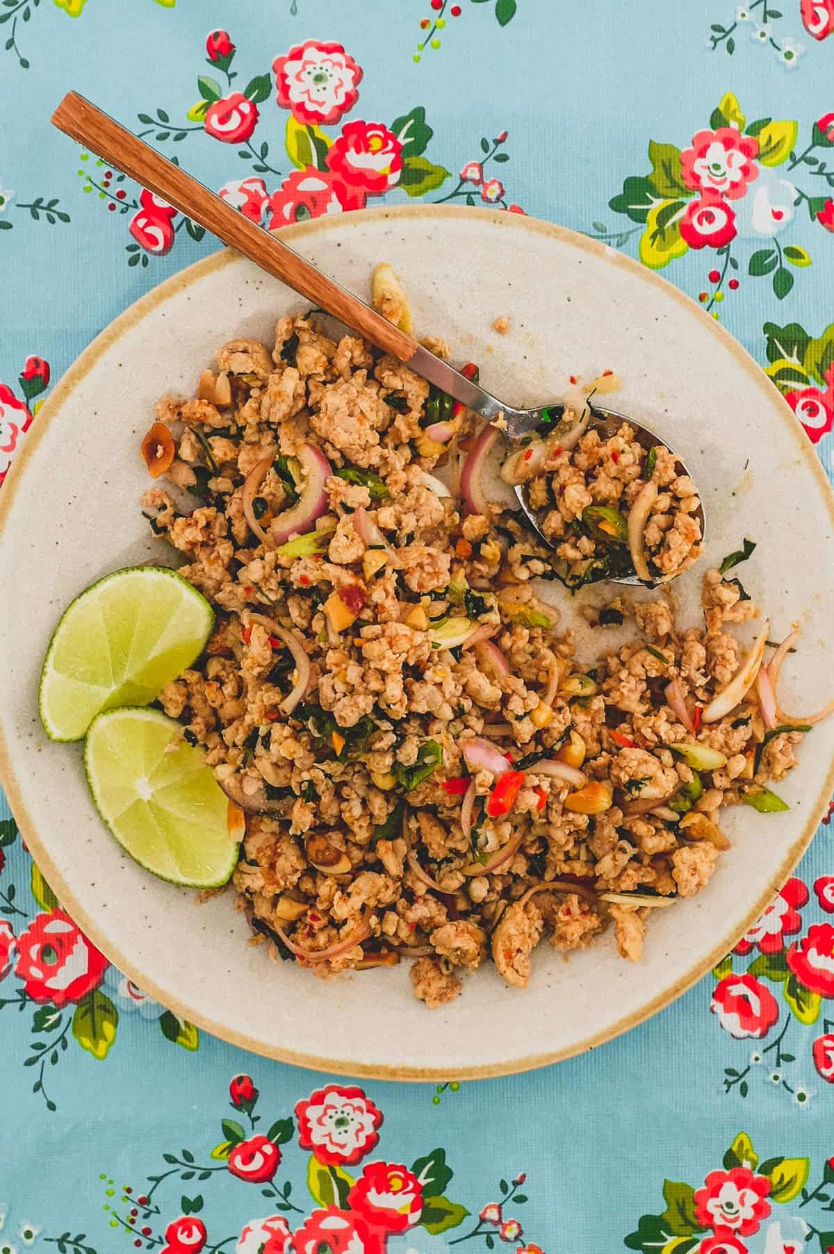 Ground chicken combined with Laotian aromatics and spices to a form a dry, spicy chicken salad. The platter sits on a colourful, floral tablecloth - like the kind you find in South East Asian markets.