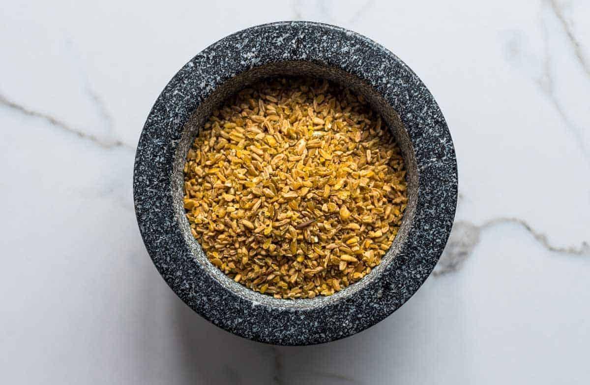 Freekeh Grains in a pestle